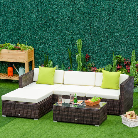 Outsunny 5pc Rattan Conservatory Furniture Garden Corner Sofa Outdoor - Brown (Parasol Not Included)