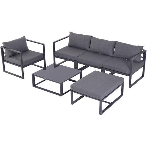 Outsunny 6 Pc Garden Sofa Set Aluminum Frame Coffee Table Footstool w/ Cushions