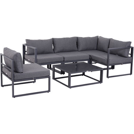 Outsunny 6 Pc Outdoor Sectional Sofa Set Conversation Aluminum Frame w/ Cushion