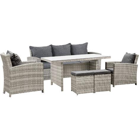 Outsunny 6 Pc Rattan Set Sofa Armchair Table Stool Outdoor Cushion Garden Furniture