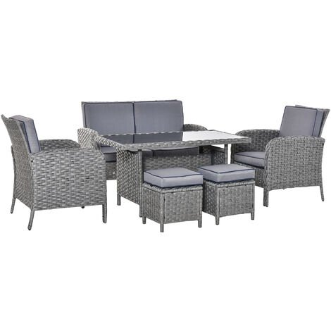 Outsunny 6 Pcs All Weather PE Rattan Dining Table Sofa Furniture Set w/ Cushions