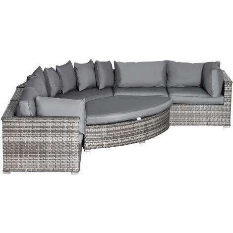Outsunny 6 Pcs Outdoor Rattan Sofa Set Half Round Conversation Set w/ Cushions