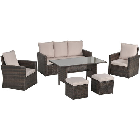 Outsunny 6 Pcs Rattan Outdoor Dining Set w/ Sofa Chairs Footstools Table Brown
