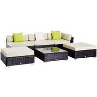 Outsunny 6 Pieces Wicker Rattan Funiture Set Deluxe Garden Conservatory Cushion Sofa