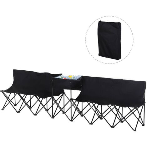 Outsunny 6-Seater Chair Bench w/ Cooler Bag Metal Frame Carry Case Camping Black