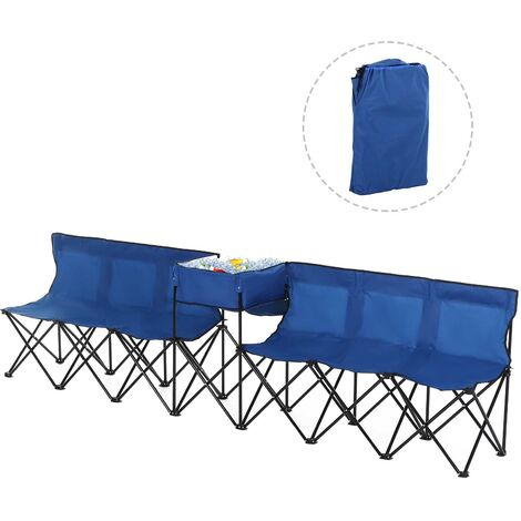 Outsunny 6-Seater Chair Bench w/ Cooler Bag Metal Frame Carry Case Camping Blue