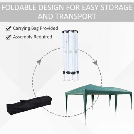 Outsunny 6 x 3m Garden Waterproof Pop Up Gazebo Marquee w/ Storage Bag