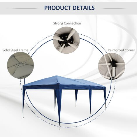 Outsunny 6 X 3M Waterproof UV Resistant Pop Up Gazebo w/ Carrying Bag