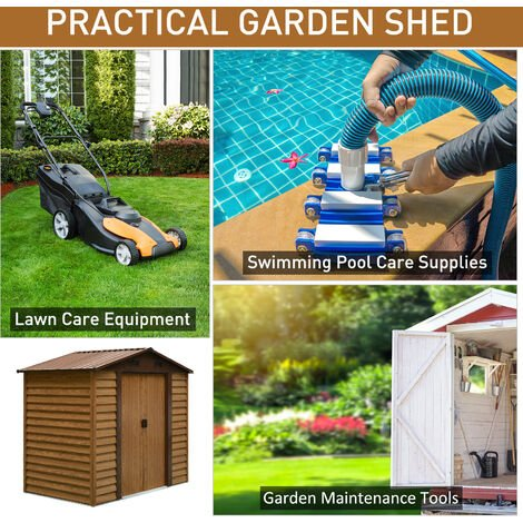 Outsunny 6 x 7ft Outdoor Metal Garden Shed Gardening Tool Storage Brown with wood grain