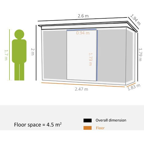 Outsunny 6 x 7ft Outdoor Pent Roofed Metal Garden Shed Tool Storage - Green