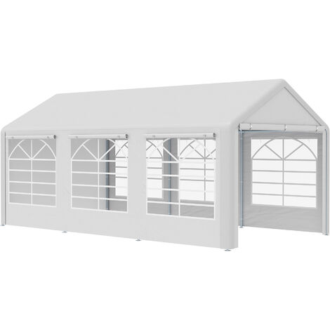 Outsunny 600cm Outdoor Car Tent Outdoor Canopy Shelter w/ Windows White
