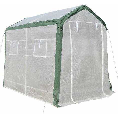 Outsunny 6.5x6.5FT Greenhouse w/ Roll Up Door 4 Windows Plant Growth House