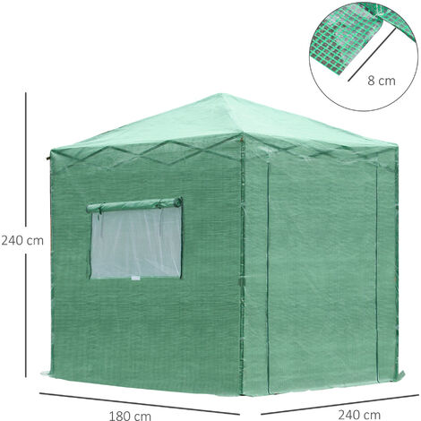 Outsunny 6.5x6.5FT Portable Walk-In Greenhouse w/ Roll-up Door 2 Windows