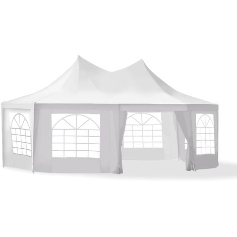 Outsunny 6.8 x 5m Large Octagonal Party Tent Gazebo Wedding Marquee - White