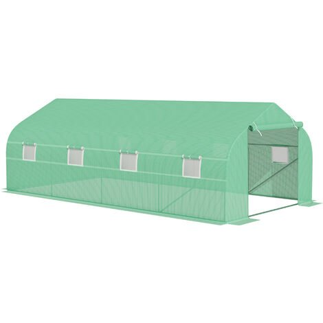 Outsunny 6m x 3m Large Greenhouse Polytunnel Steeple Poly Tunnel Green House Steel Frame