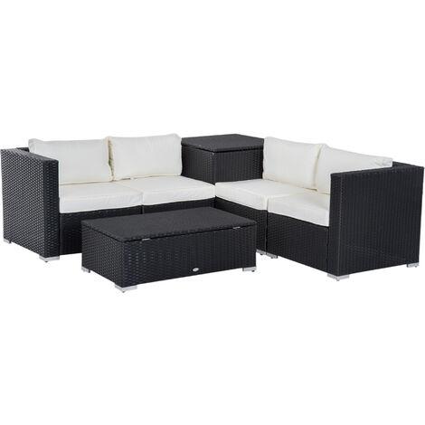 Outsunny 6PC Rattan Corner Sofa Set Storage Furniture w/ Cushion (Black)