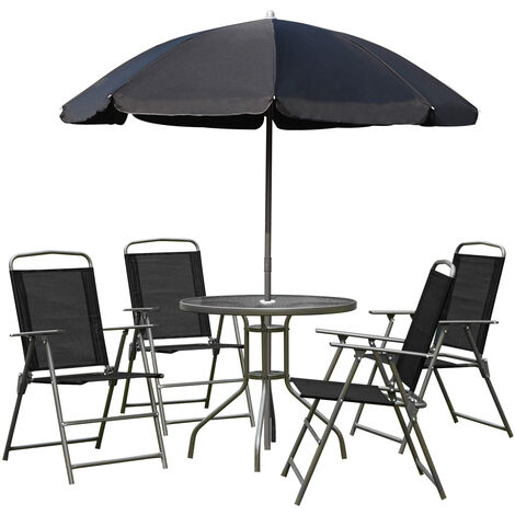Outsunny 6pcs Garden Furniture Bistro Set Texteline Folding Chairs - Black