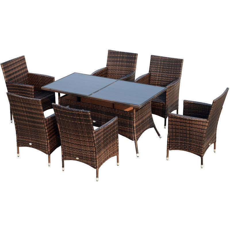 Outsunny 7 Pc Wicker Garden Furniture Rattan Dining Set Rectangular Table Brown