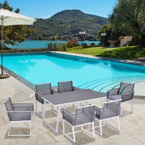 Outsunny 7 Pcs Outdoor Dining Set w/ 6 Cushioned Chairs Table Garden Seating