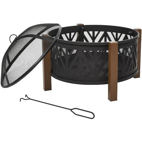 Outsunny 78cm 2-In-1 Outdoor Fire Pit & Firewood BBQ Garden Cooker Heater