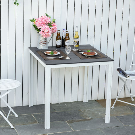 Outsunny 78cm Square Outdoor Dining Table w/ Metal Frame Patio Furniture White Grey