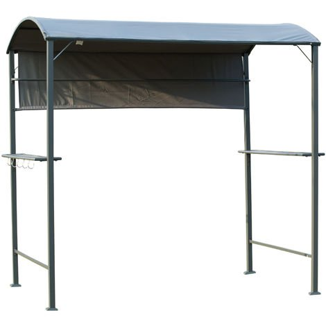 Outsunny 7FT BBQ Gazebo Fire Protection Canopy w/ Shelves Hooks Outdoor Cooking