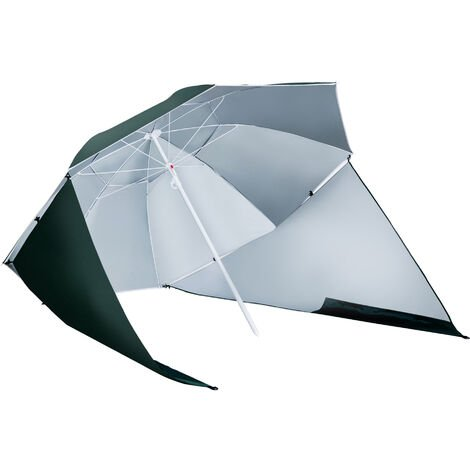 Outsunny 7ft Parasol Sun Umbrella Beach Shade Side Panels Canopy Steel Frame - Green