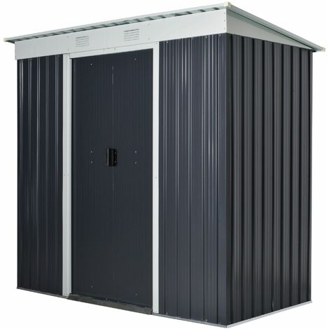 Outsunny 7x3.6FT Steel Garden Storage Shed w/ Sliding Door Window Sloped Roof