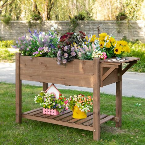 """main image of """"Outsunny 8 Compartment Wooden Garden Plant Stand w/ Shelf Flower Bed Box"""""""