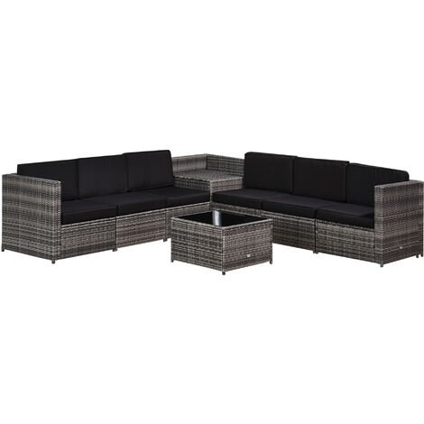 Outsunny 8 PC Rattan Sofa Set 6 Seats 2 Table Garden Furniture w/ Cushions