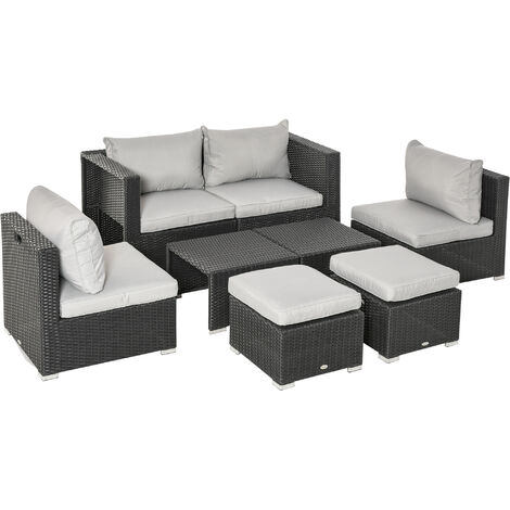 Outsunny 8 PCS Outdoor Patio Furniture Set PE Wicker Rattan Sofa Chair Black