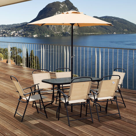 Outsunny 8 Pieces Dining Set Furniture Garden Foldable Chair Umbrella Table Parasol - Beige