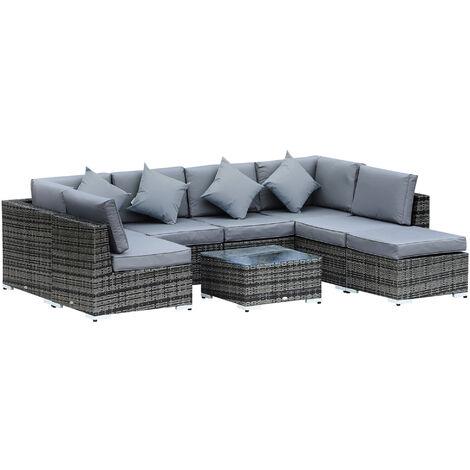 Outsunny 8pc Rattan Sofa Lounge Set Duluxe w/ 6 Seats Stool Table Cushions Pillows