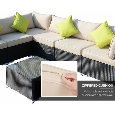 Outsunny 8pcs Rattan Sofa Garden Furniture Sofa Set Wicker w/ Cushions