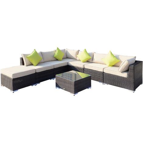 Outsunny 8pcs Rattan Sofa Garden Furniture Sofa Set Wicker w/ Cushions