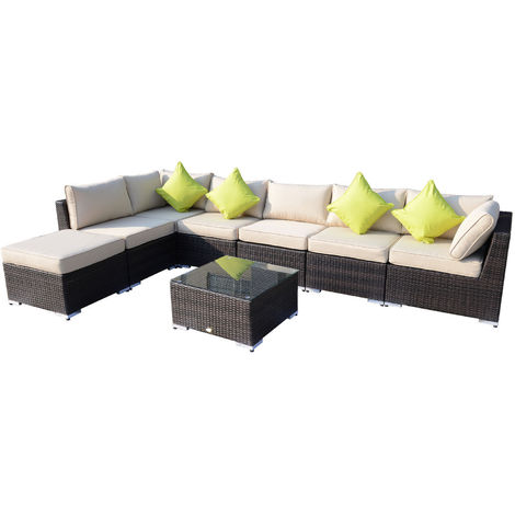 "main image of ""Outsunny 8pcs Rattan Sofa Garden Furniture Sofa Set Wicker w/ Cushions"""