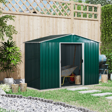 Outsunny 8x6FT Outdoor Garden Metal Storage Shed Tool Box w/ Sliding Door