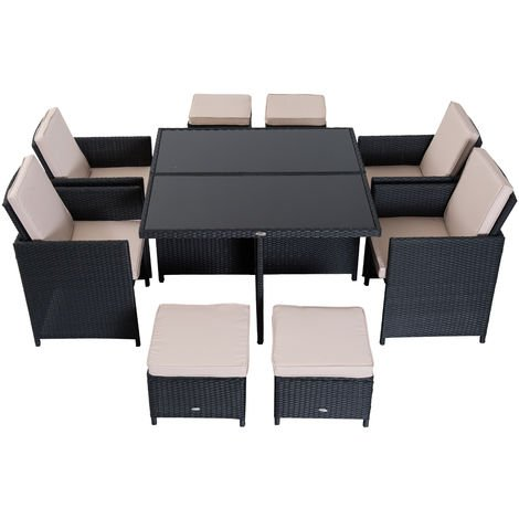 Outsunny 9 Pieces Rattan Dining Set Garden Furniture Cushion Seat Woven Black P 385786 7505369 1 Jpg