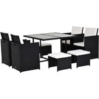 Outsunny 9PC Rattan Garden Furniture Outdoor Patio Dining Table Set Weave Wicker 8 Seater Stool Black
