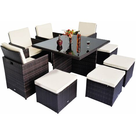 Outsunny 9pc Rattan Wicker Cube Dining Set Garden Outdoor Furniture - Black