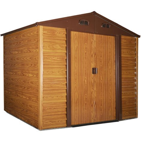 Outsunny 9x6ft Metal Garden Shed House Gardening Tool Storage w/ Foundation Brown
