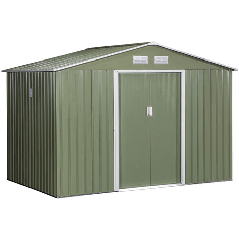 """main image of """"Outsunny 9X6FT Outdoor Garden Roofed Metal Storage Shed w/ Foundation Vents"""""""