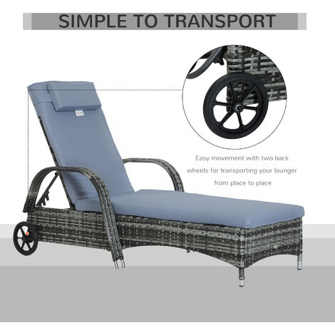 Outsunny Adjustable Rattan Sun Lounger Outdoor Recliner w/ Cushion Grey