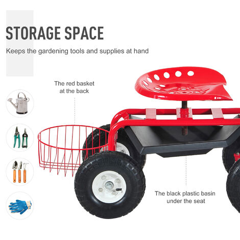 """main image of """"Outsunny Adjustable Rolling Garden Cart Outdoor Gardening Planting Station Trolley Swivel Gardener Work Seat Heavy Duty With Tool Tray & Basket Red 150kg"""""""