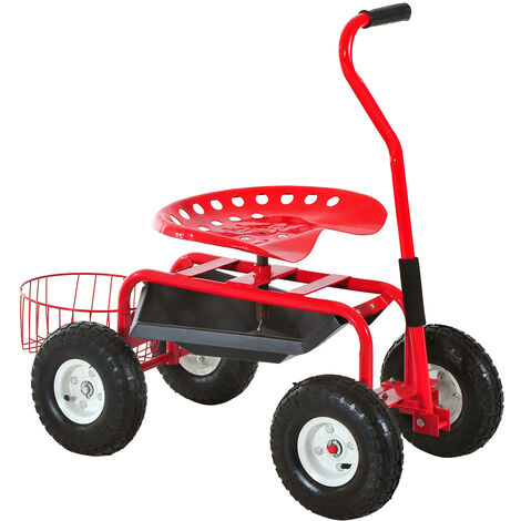 Outsunny Adjustable Rolling Garden Cart Outdoor Gardening Planting Station Trolley Swivel Gardener Work Seat Heavy Duty With Tool Tray & Basket Red 150kg