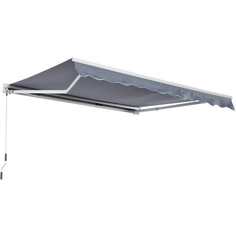 Outsunny Alu Gelenkarm-Markise 4m x 3m Sonnenschutz grau