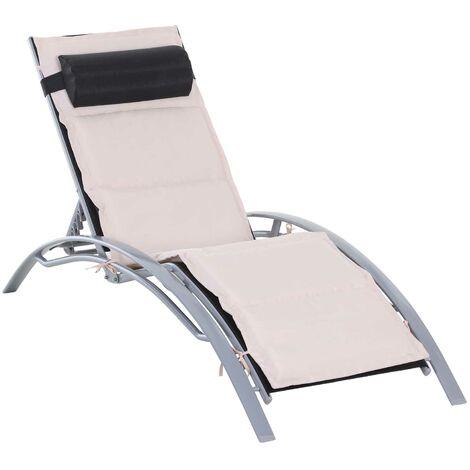 Outsunny® Alu Sonnenliege höhenverstellbar mit Liegematte und Nackenrolle