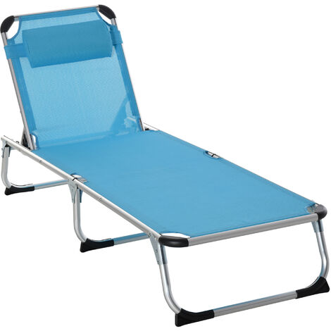 Outsunny Aluminium Frame Folding Outdoor Reclining Sun Lounger Chair Blue
