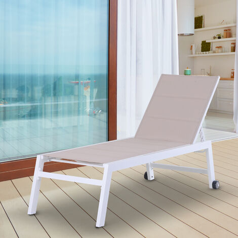 Outsunny Aluminium Sun Lounger Chair w/ Adjustable Back 2 Wheels Furniture White