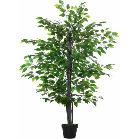 Outsunny Árbol de Ficus Artificial de 145 cm de Altura con Maceta Interiores y Exteriores - Verde